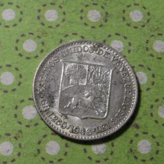 Венесуэла 1946 год монета 25 сентимов серебро !