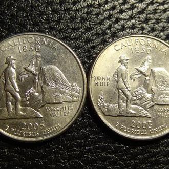 25 центів США 2005 Каліфорнія (два різновиди)