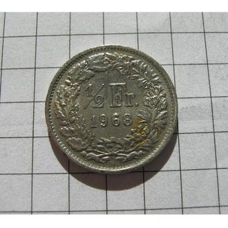 1/2 ФРАНКА 1968 ШВЕЙЦАРІЯ