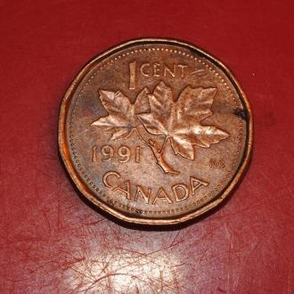 1 цент 1991 г Канада