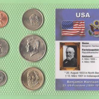 Набор США: 23 -й Президент США - Бенджамин Гаррисон - Benjamin Harrison пластик блистер запайка