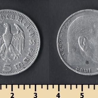 Германия 5 рейхсмарок 1935