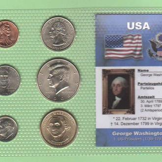 Набор монет США 1 -й Президент США - Вашингтон - пластик блистер запайка