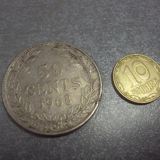 монета либерия 50 центов 1968 №1131