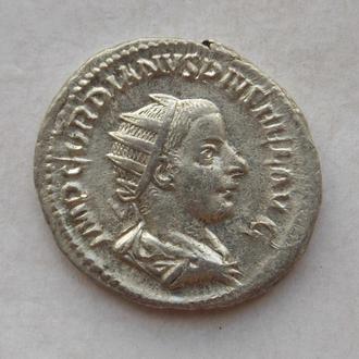 Антонініан (Антониниан) Гордіан III, Юпітер (IOVI), вага 5,06 гр. Срібло, гарний стан.