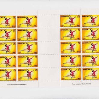 Спорт . ЗОИ   Anguilla / Ангилья  MNH  - лист  с р/дорожкой  - 20 марок