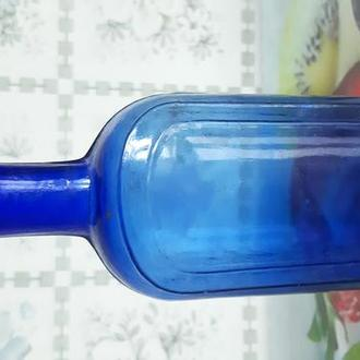 Пузырек старинный Царская Россия из синего стекла