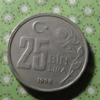 Турция 1998 год монета 25000 лир !