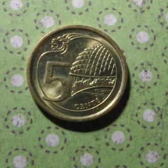 Сингапур 2014 год монета 5 центов !