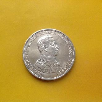Пруссия 3 марки 1914 г. Серебро