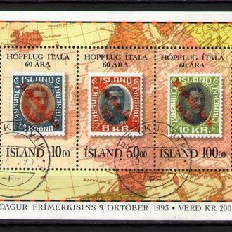 Исландия 1993 Марка на марке Карта Европы блок