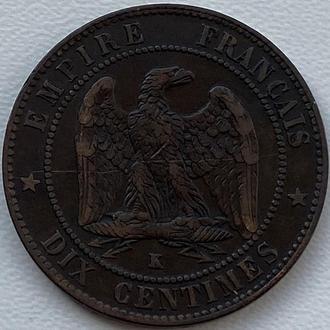Франция 10 сантимов 1855 K год СОСТОЯНИЕ!!!!!