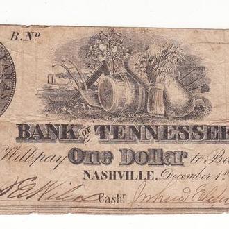 КША Гражданская война в США Конфедерация Теннеси 1 доллар 1861 редкий!!!