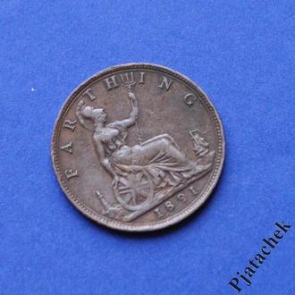 Великобритания 1 фартинг 1891 Виктория  Состояние распродажа коллекции