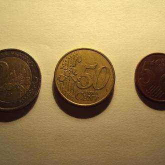 Монета 2 Евро (2001)  + 50 евроцентов (2002) + 5 центов (2011)