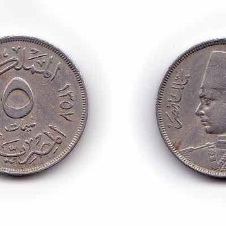 Египет 5 миллим 1938 , король Фарук