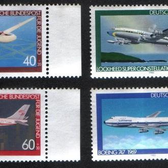 Германия, ФРГ (1980) Авиация. Планер и самолёты