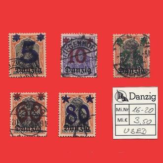 ✠ DANZIG Mi.16-20 Used 1920 ✠Данциг ✠Гданьск ✠ Надпечатка ✠