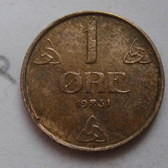 НОРВЕГИЯ 1 эре 1931 года.