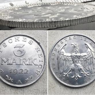 """Германия 3 марки, 1922г. 3-я годовщина Веймарской конституции Отметка монетного двора """"A"""" — Берлин"""