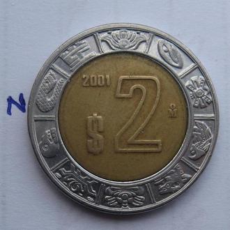 МЕКСИКА, 2 песо 2001 г. (биметалл).
