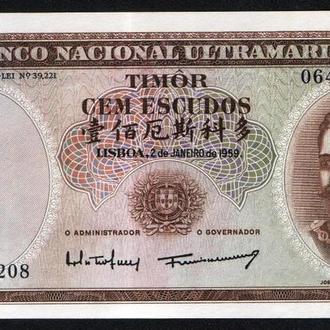 Португальский Тимор (1959) 100 эскудо. Pick 24a(4). UNC. Редкая