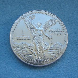 ЛИБЕРТАД 1 ONZA МЕКСИКА 1990 г. Серебро 999. Инвестиционная монета MEXICAN SILVER LIBERTAD (Свобода)