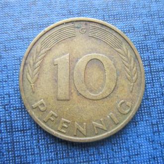 монета 10 пфеннигов ФРГ 1980 G