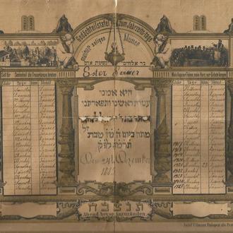 Иудаика 1885 Поминальный лист Молитвы за матерь На идиш и немецком  23х29 см