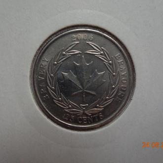 "Канада 25 центов 2006 Elizabeth II ""Medal of Bravery"" СУПЕР состояние редкая"