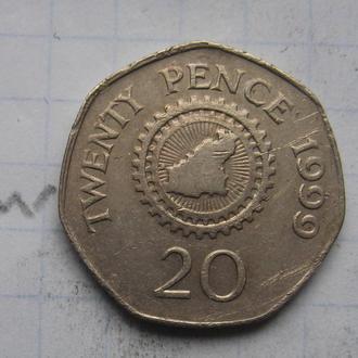 ГЕРНСИ, 20 пенсов 1999 года.