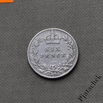Великобритания 6 пенсов 1892 Виктория серебро