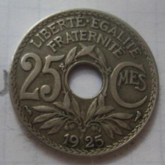 ФРАНЦИЯ 25 сантимов 1925 года.