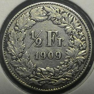 Швейцария  1/2 франка 1909 год Не частая!! серебро!!