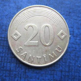 монета 20 сантимов Латвия 1992
