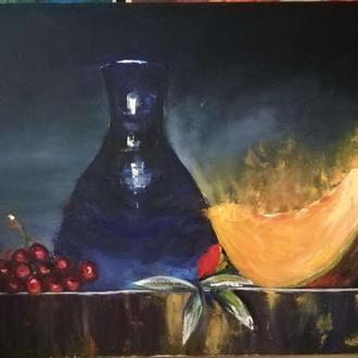 "Картина ""Натюрморт с дыней"", холст, масло, мастехин, 50х60 см"