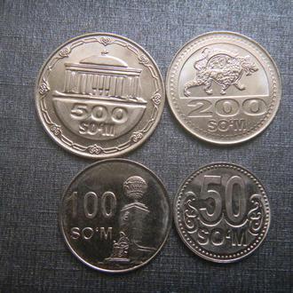 Узбекистан 500, 200, 100, 50 сум 4 монеты 2018