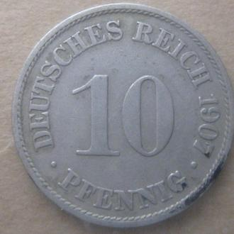 Германия 10 пфеннигов 1907 год (A)
