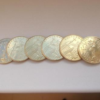 1 гривна 2012, 2014 и 2015 гг, 6 монет из роллов.