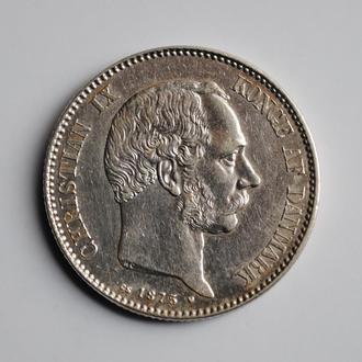 Дания 2 кроны 1875 г., XF, 'Король Кристиан IX (1873 - 1906)'