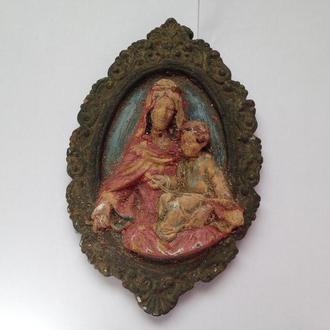 Икона - Богородица с Младенцем. 21Х13 см. Чердачная.