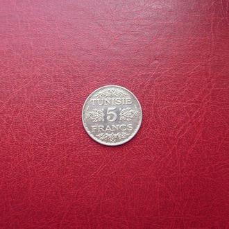 Тунис 5 франков 1934 Редкая. серебро