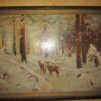 Картина В Зимнем лесу. Масло. Непризнанный художник.