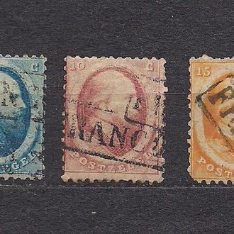 Нидерланды, 1864 г., стандартный выпуск, первые марки № 4-6, король Вильхельм 3