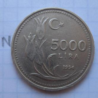 ТУРЦИЯ 5000 лир 1994 года (гурт с надписью).