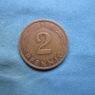 Германия 2 пфеннинга 1973 год D
