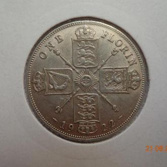 Великобритания 1 флорин 1922 George V серебро СУПЕР состояние очень редкая