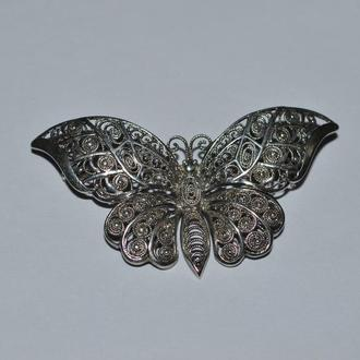 шикарная брошь скань бабочка серебро 830 проба патина вес 4,57 грамм винтаж