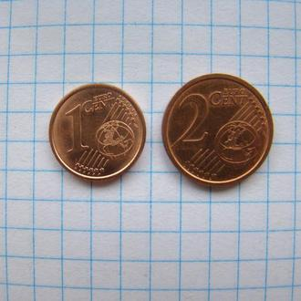 1 евроцент 2017 г. и 2 евроцента 2016 г.