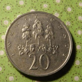 Ямайка монета 20 центов 1989 год !